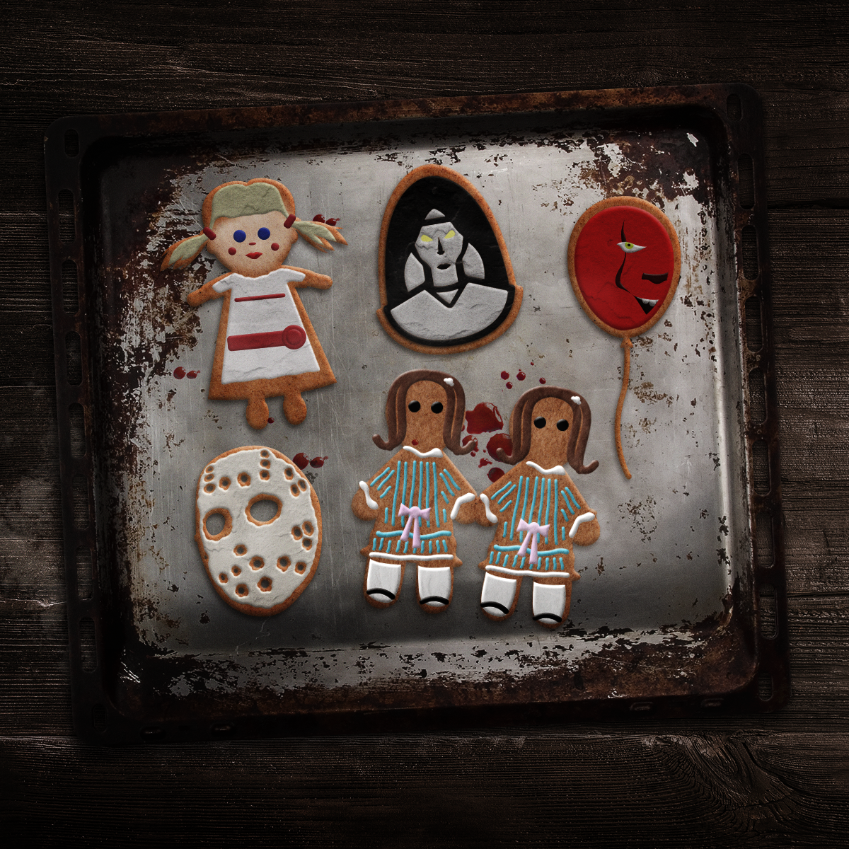 Annabelle, The Nun, Pennywise's Red Ballon, Jason Voorhees' Hockey Mask, and The Grady Twins as cookies.