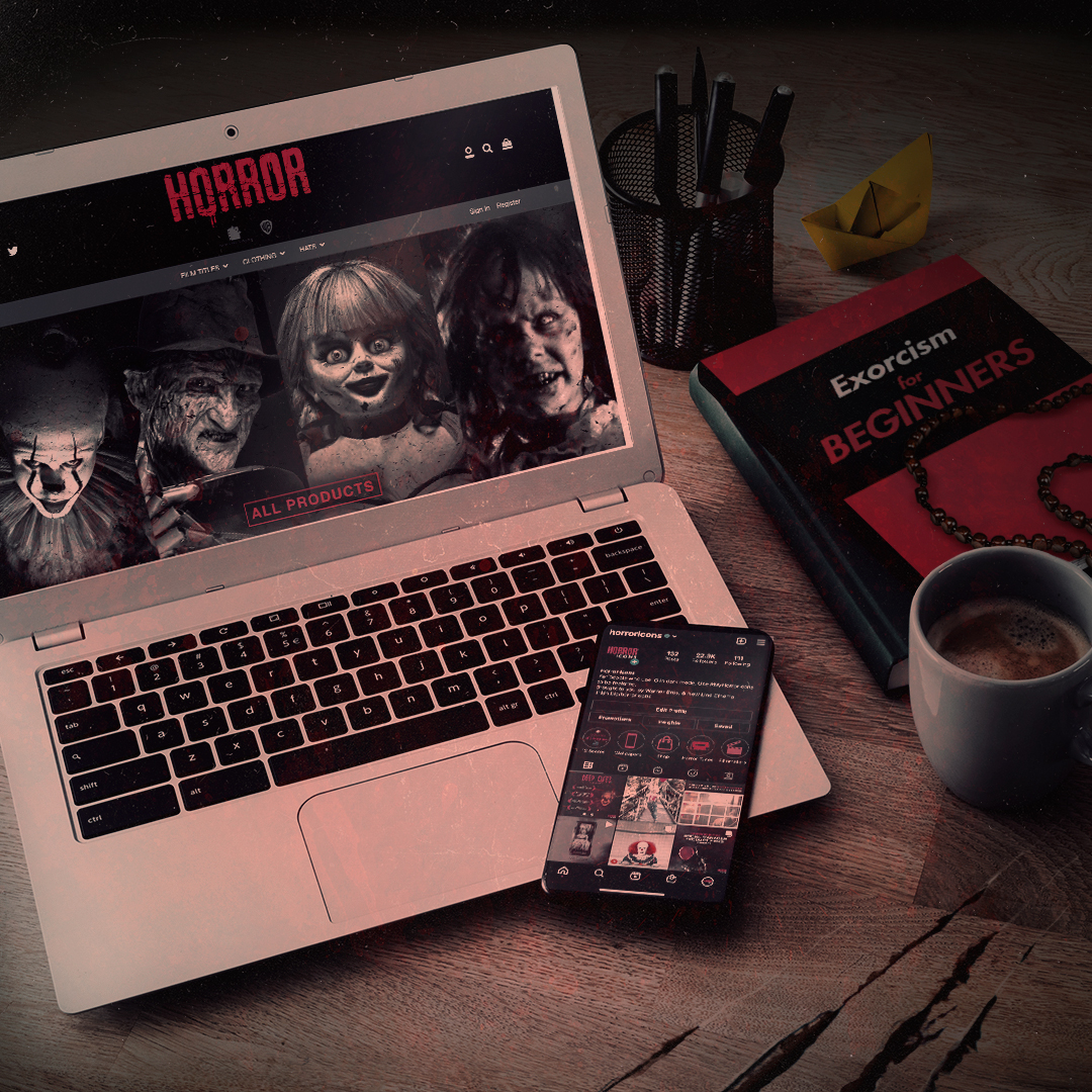 A computer showing the WB Horror Collection website, a smartphone showing the Horror Icons Instagram account, and a book titled 'Exorcism For Beginners'